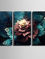 Недорогие -ботанический Холст для печати 3 панели Готовы повесить , Вертикальная
