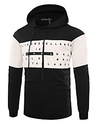 cheap -Men's Daily Punk & Gothic T-shirt,Color Block Hooded Long Sleeves Cotton 20D