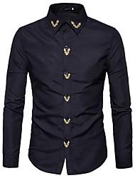 Недорогие -Для мужчин Праздники На каждый день Весна Осень Рубашка Рубашечный воротник,Активный Богемный Однотонный Контрастных цветов Длинные рукава