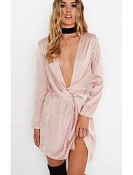 cheap -Women's Daily Wear Loose Dress,Solid Deep V Mini Long Sleeve Silk Cloth Summer Fall Medium Waist strenchy Opaque