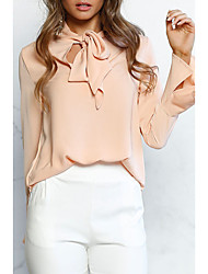 cheap -Women's Going out Street chic Blouse,Solid Round Neck Long Sleeves Polyester Nylon