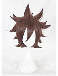 Недорогие -Парики из искусственных волос Естественные прямые Искусственные волосы Коричневый Парик Жен. Короткие Без шапочки-основы