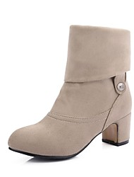 Women's Shoes Leatherette Fall Winter Fashion Boots Boots Round Toe Booties/Ankle Boots Buckle For Casual Dress Khaki Gray Black