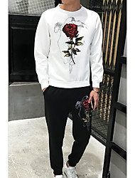 cheap -Men's Long Sleeves Loose Set - Floral / Botanical, Print Round Neck