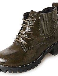 cheap -Women's Shoes PU Winter Combat Boots Fur Lining Comfort Boots Round Toe Booties/Ankle Boots for Casual Outdoor Black Brown Green