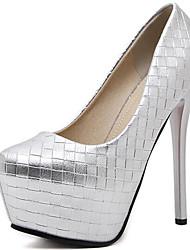preiswerte -Damen Schuhe Lackleder Frühling Herbst Pumps High Heels Für Kleid Party & Festivität Schwarz Silber