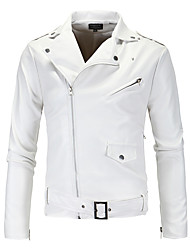 cheap -Men's Daily Street chic Winter Fall Leather Jackets,Solid V-neck Long Sleeves Short PU