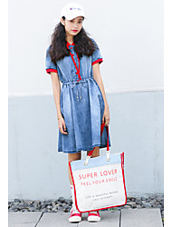 cheap -Women's Daily Going out Denim Dress,Solid Hooded Knee-length Short Sleeves Polyester Others High Waist Inelastic Medium