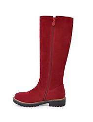 preiswerte -Damen Schuhe Nubukleder Winter Herbst Modische Stiefel Stiefel Runde Zehe Mittelhohe Stiefel für Normal Kleid Schwarz Braun Rot