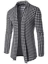 Men's Daily Casual Active Regular Cardigan,Houndstooth Shirt Collar Long Sleeves Japanese Cotton Winter Fall Thick Micro-elastic