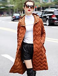 Dámské Standardní Dlouhý kabát Jednoduchý Jdeme ven Běžné/Denní Jednobarevné-Kabát Polyester Dlouhé rukávy