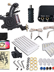 cheap -Tattoo Machine Starter Kit 1 cast iron machine liner & shader Mini power supply 1 x stainless steel grip 10 pcs Tattoo Needles