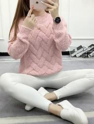 Standard Pullover Da donna-Casual Tinta unita Rotonda Manica lunga Lana d'angora Primavera/Autunno Inverno Medio spessore Elasticizzato