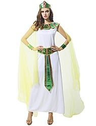 Rétro L'Egypte ancienne Rome antique Costume Femme Tenue Blanc Vintage Cosplay Polyester Sans Manches Longueur Cheville