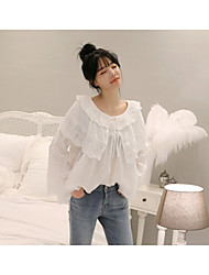 cheap -Women's Going out Cute Active Blouse,Solid Round Neck Long Sleeves Cotton Acrylic