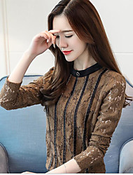Women's Daily Wear Vintage Sophisticated Shirt,Striped Crew Neck Long Sleeves Elastane