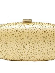 Ženy Tašky Celoroční Polyester Večerní kabelka Křišťály pro Svatební Večírek Zlatá Stříbrná Fialová Fuchsiová