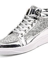 preiswerte -Herrn Schuhe PU Frühling Herbst Komfort Sneakers für Normal Gold Schwarz Silber