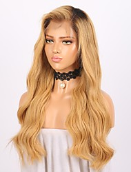 cheap -Women Human Hair Lace Wig Brazilian Remy Glueless Lace Front 150% Density With Baby Hair Body Wave Wig Black/Strawberry Blonde Long