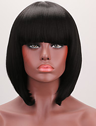 cheap -Synthetic Lace Front Wig Straight Bob Haircut / With Bangs / With Baby Hair Synthetic Hair Black Wig Women's Short Lace Front
