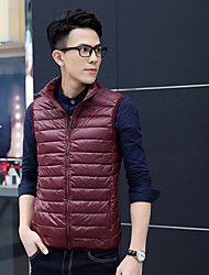 Men's Long Parka Coat,Chinoiserie Cotton Solid-Wool Sleeveless