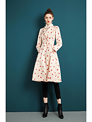 cheap -Women's Party Going out Sophisticated Spring Fall Trench coat,Print Peter Pan Collar Long Sleeves Regular Polyester Printing