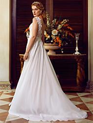 baratos -Linha A Bateau Neck Cauda Escova Chiffon / Renda de Cordão Vestidos de casamento feitos à medida com Apliques / Fitas e Laços de LAN TING