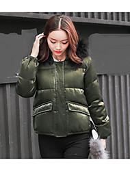 Dámské Krátké Dlouhý kabát Jednoduchý Šik ven Denní nošení Jdeme ven Jednobarevné-Kabát Bavlna Šetrný k životnímu prostředí Polyester