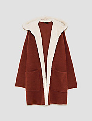 Women's Going out Casual/Daily Simple Cute Regular Cardigan,Solid Hooded Long Sleeves Cotton Spring Fall Medium Micro-elastic