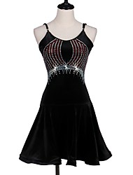 cheap -Latin Dance Dresses Women's Performance Spandex Pleated Crystals/Rhinestones Sleeveless Dress by Shall We®