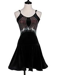 devons-nous latin danse robes femmes performance spandex plissé cristaux / strass robe sans manches