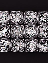 economico -12 pezzi Rotondo Con lustrini Argenteo Nail Art Design