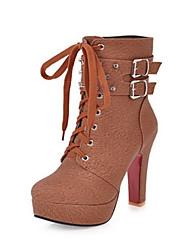 baratos -Mulheres Sapatos Couro Ecológico Outono / Inverno Conforto / Inovador Botas Salto Alto Dedo Apontado Botas Curtas / Ankle Tachas /