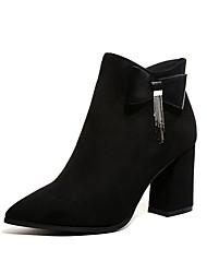 Feminino Sapatos Camurça Outono Inverno Conforto Botas da Moda Botas Para Casual Preto Marron