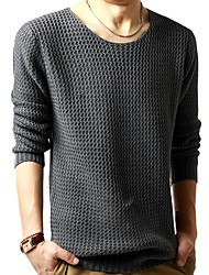 cheap -Men's Long Sleeves Pullover - Solid Colored Round Neck