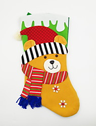 cheap -Large Non-Woven Fabric Christmas Stocking Christmas Ornament Bear