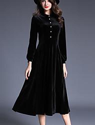 baratos -Mulheres Para Noite Veludo balanço Vestido Sólido Médio Preto