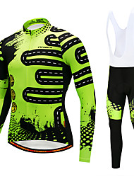 cheap -Cycling Jersey with Bib Tights Men's Long Sleeves Bike Bib Tights Tights Pants / Trousers Jersey Top Clothing Suits Quick Dry 3D Pad