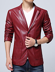 cheap -Men's Daily Wear Automotive Simple Casual Winter Jackets,Solid Round Neck Long Sleeves Regular PU Buckle