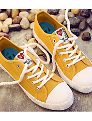cheap -Women's Shoes Canvas Spring Fall Comfort Sneakers Walking Shoes Flat Round Toe Booties/Ankle Boots Ribbon Tie For Casual Green Yellow