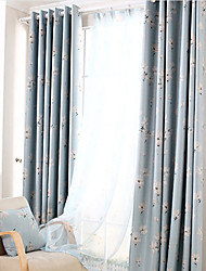 cheap -Grommet Top Double Pleat Pencil Pleat Curtain Contemporary Modern , Printed Solid Floral Living Room Polyester Blend Material Curtains