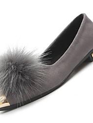 abordables -Femme Chaussures Cuir Nubuck Hiver Moccasin Ballerines Talon Plat Bout pointu pour Noir Gris Vert