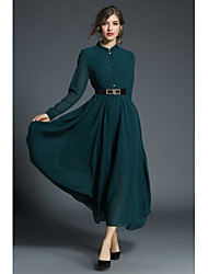 Women's Party Daily Casual Sexy Swing Dress,Solid Stand Knee-length Long Sleeve Polyester All Season Spring High Waist Inelastic Opaque