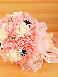 abordables -ramo de la boda paño de seda pe novia boda romántica con flores
