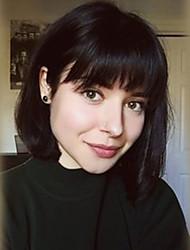 economico -Donna Parrucche senza cappuccio per capelli umani Nero Media Auburn Beige Biondo // Bleach Blonde Medio Kinky liscia