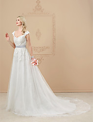 cheap -A-Line V-neck Cathedral Train Lace Tulle Wedding Dress with Beading Appliques Sash / Ribbon by LAN TING BRIDE®