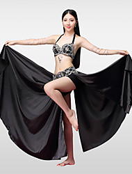 cheap -Belly Dance Outfits Women's Performance Cotton Polyester Satin Bead Crystals/Rhinestones Split Skirts Bra Belt