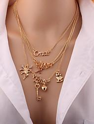 Недорогие -Жен. Слоистые ожерелья обернуть ожерелье Стразы Простой Элегантный стиль Золотой Ожерелье Бижутерия Назначение Повседневные На выход