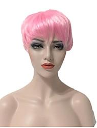 abordables -Perruque Synthétique Droit Coupe Asymétrique Coupe Lutin Ligne de Cheveux Naturelle Cheveux de base de soie Rose Femme Sans bonnet