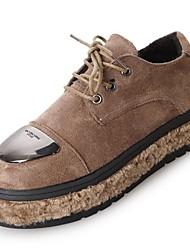 preiswerte -Damen Schuhe PU Nubukleder Winter Pelzfutter Leuchtende Sohlen Outdoor Niedriger Heel Runde Zehe für Schwarz Khaki